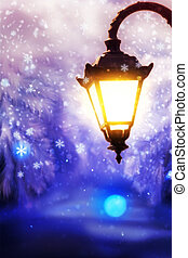 Winter Street Lamp - Lit up street lamp at snowy winter...