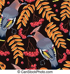 Seamless waxwing and rowan - Waxwing and rowan berries and...