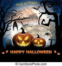 Spooky card for Halloween. blue background with full moon,...