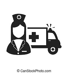 avatar woman nurse with emergency ambulance medicine vehicle...
