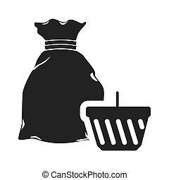 money sack with shopping basket - money sack symbol and...