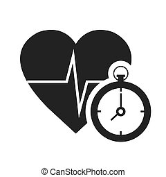 cardio pulse heart with chronometer device icon silhouette....