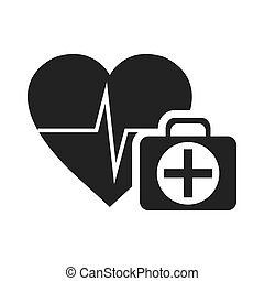 cardio pulse heart with emergency medicine kit icon...