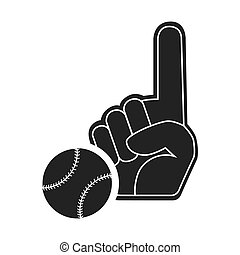 sport hand glove with baseball ball icon silhouette. vector...