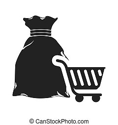 money sack with cart shopping - money sack and shopping cart...