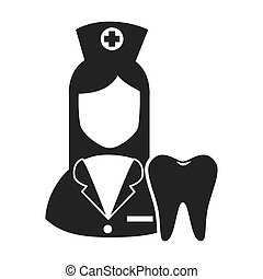 avatar woman nurse with oral tooth. medicine icon. vector...