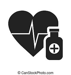 cardio pulse heart with medicine bottle icon silhouette....