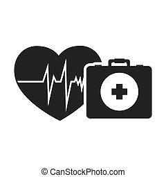 cardio pulse heart with briefcase healthcare emergency kit....