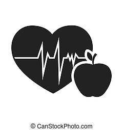 cardio pulse heart with apple fruit food. vector...