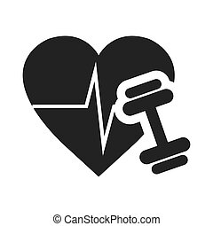 cardio pulse heart with dumbbell icon silhouette. vector...