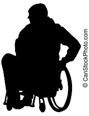 Wheel chair on white - Silhouettes wheelchair and people on...