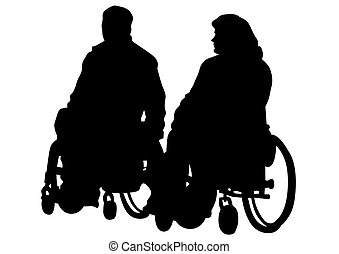 Wheel chair on white background - Silhouettes wheelchair and...