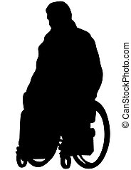 Wheel chair people on white - Silhouettes wheelchair and...