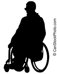 Wheelchair people on white - Silhouettes wheelchair and...