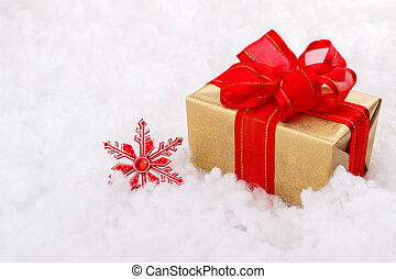 kasten, goldenes, Weihnachten, Geschenk