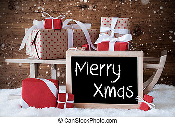 Sleigh With Gifts, Snow, Snowflakes, Text Merry Xmas - Sled...