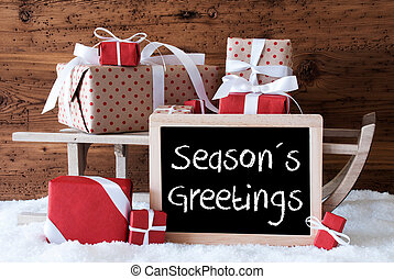 Sleigh With Gifts On Snow, Text Seasons Greetings