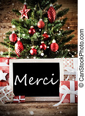 Christmas Tree With Merci Means Thank You - Christmas Card...