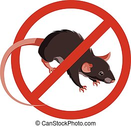 Rat forbidden sign icon - Rat or Mouse Warning Vector Signs....