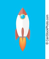 Space rocket isolated on blue