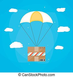 Delivery service, air shipping. Parachute with box. Package...