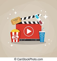 Online home cinema concept. cinema clapperboard with running...
