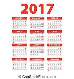 Calendar for 2017 on white background. Vector EPS10. red