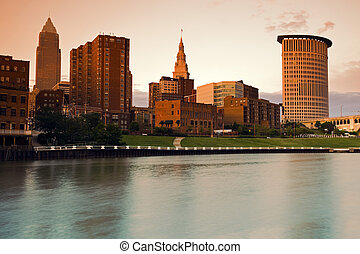 Brown Cleveland - Aerial view of downtown Cleveland, Ohio....