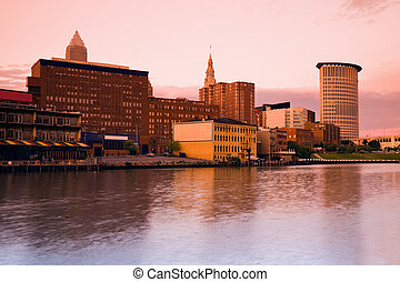 Pink evening in Cleveland