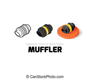 Muffler icon in different style - Muffler icon, vector...