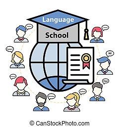 Vector logo of a language school abroad.