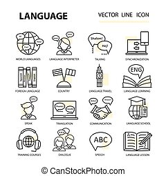 Set modern linear icons on the topic of learning a foreign...