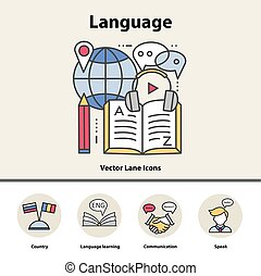 Modern thin line icons of learning foreign languages, language training school.
