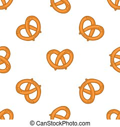 Seamless pattern with pretzels for Oktoberfest on white...
