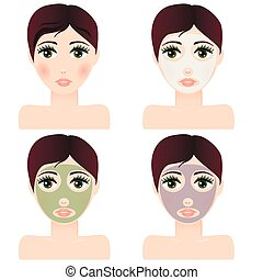 girl portrait with facial skin mask
