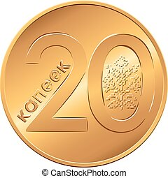 Reverse new Belarusian Money coin twenty copecks - vector...