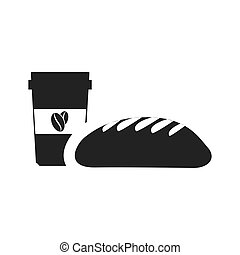 bread bakery food product with coffee cup icon silhouette....