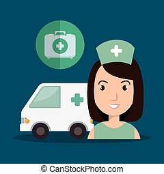 avatar woman nurse with emergency ambulance vehicle and...
