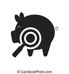 piggy moneybox icon - piggy moneybox with magnifying glass...