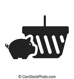 piggy moneybox icon - piggy moneybox with shopping basket...