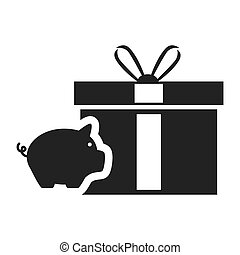 piggy moneybox icon - piggy moneybox with gift box icon...