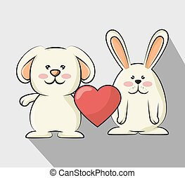 cute rabbit with red heart - cute rabbits animal with red...