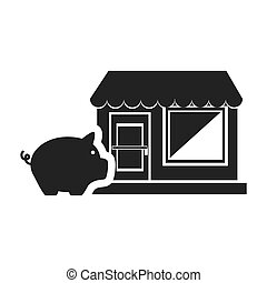 piggy moneybox icon - piggy moneybox with store icon...