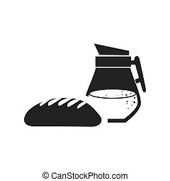 bread bakery food product with juice jar icon silhouette....