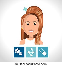 avatar woman nurse with medicine icon set. colorful design....