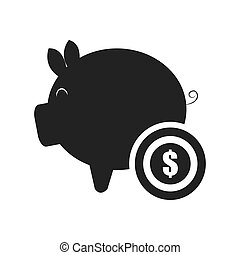 piggy moneybox icon - piggy moneybox with money coin icon...