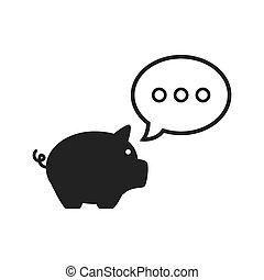 piggy moneybox icon - piggy moneybox with speech...