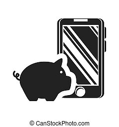 piggy moneybox icon - piggy moneybox with smartphone device...