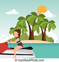 woman riding jet ski on summer island background. vector...