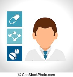 avatar medical doctor man and medicine icon set. colorful...